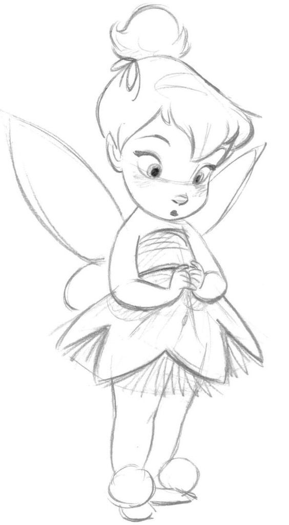 Dibujos a lapiz de Disney campanita - Dibujando un Poco