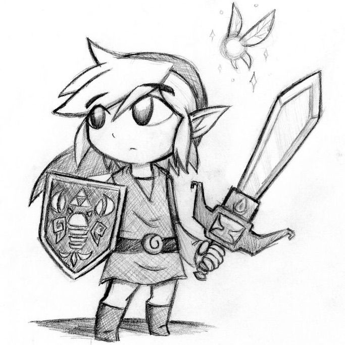 Dibujos a lapiz de videojuegos link legend of zelda - Dibujando un Poco