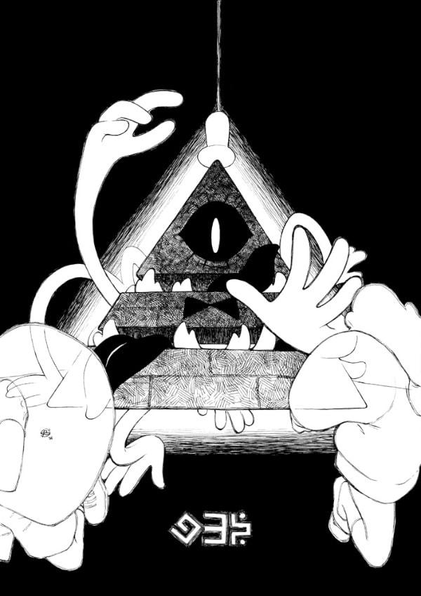 Dibujos de Bill Cipher de gravity falls blanco y negro - Dibujando un Poco