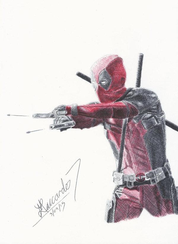 Dibujos de Deadpool 2 disparando - Dibujando un Poco