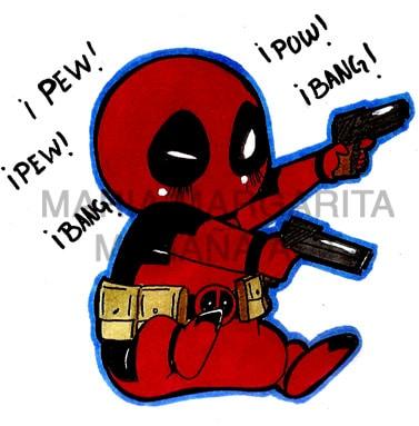 Dibujos de Deadpool chibi disparando - Dibujando un Poco