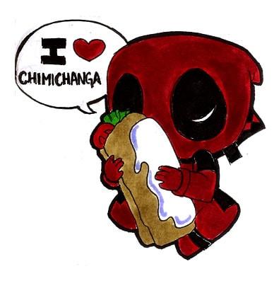 Dibujos de Deadpool kawaii chimichanga - Dibujando un Poco
