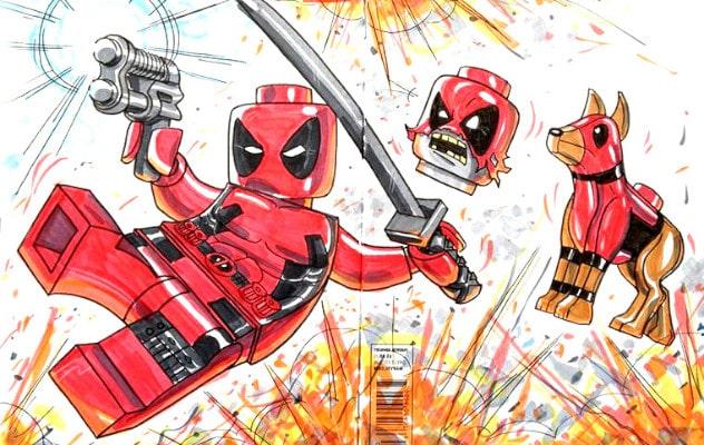 Dibujos de Deadpool lego saltando - Dibujando un Poco