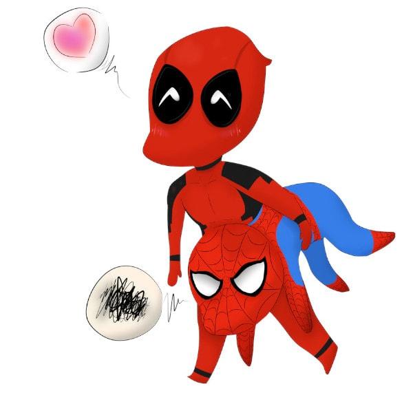 Dibujos de Deadpool y spiderman enamorados - Dibujando un Poco