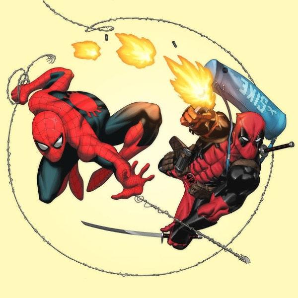 Dibujos de Deadpool y spiderman luchando juntos - Dibujando un Poco