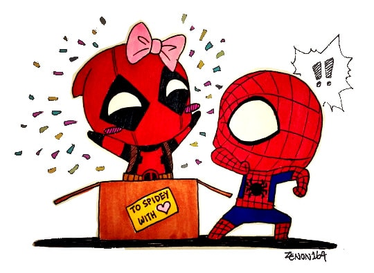 Dibujos de Deadpool y spiderman sorpresa - Dibujando un Poco