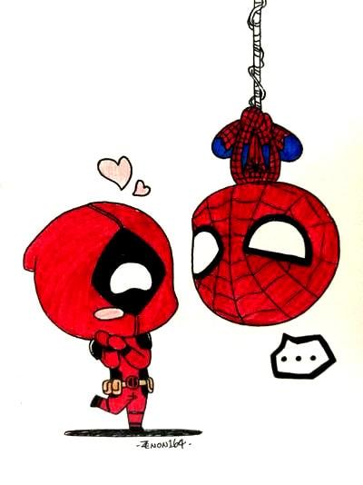 Dibujos de Deadpool y spiderman - Dibujando un Poco