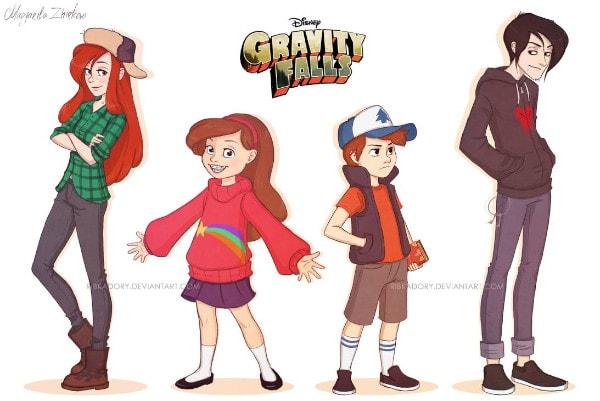 Dibujos de gravity falls anime dipper mabel y wendy - Dibujando un Poco