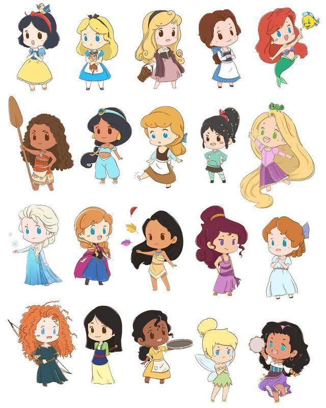 Dibujos de princesas de Disney kawaii - Dibujando un Poco