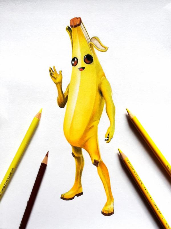 Dibujos de skins y de personajes de fortnite Peely la banana - Dibujando un Poco