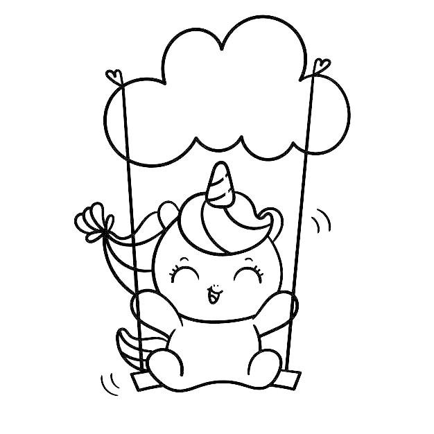Dibujos de unicornios kawaii faciles Lindo Unicornio En El Cielo para colorear - Dibujando un Poco