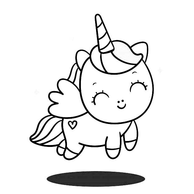 Dibujos de unicornios kawaii faciles Lindo angel Unicornio para colorear - Dibujando un Poco