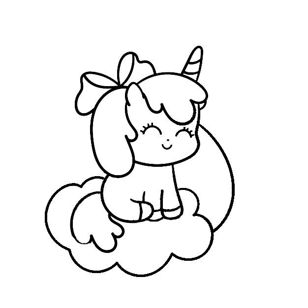 Dibujos de unicornios kawaii faciles para colorear - Dibujando un Poco
