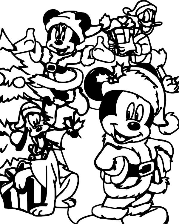 Dibujos navidenos para colorear de Disney minie mickey pluto y donald - Dibujando un Poco