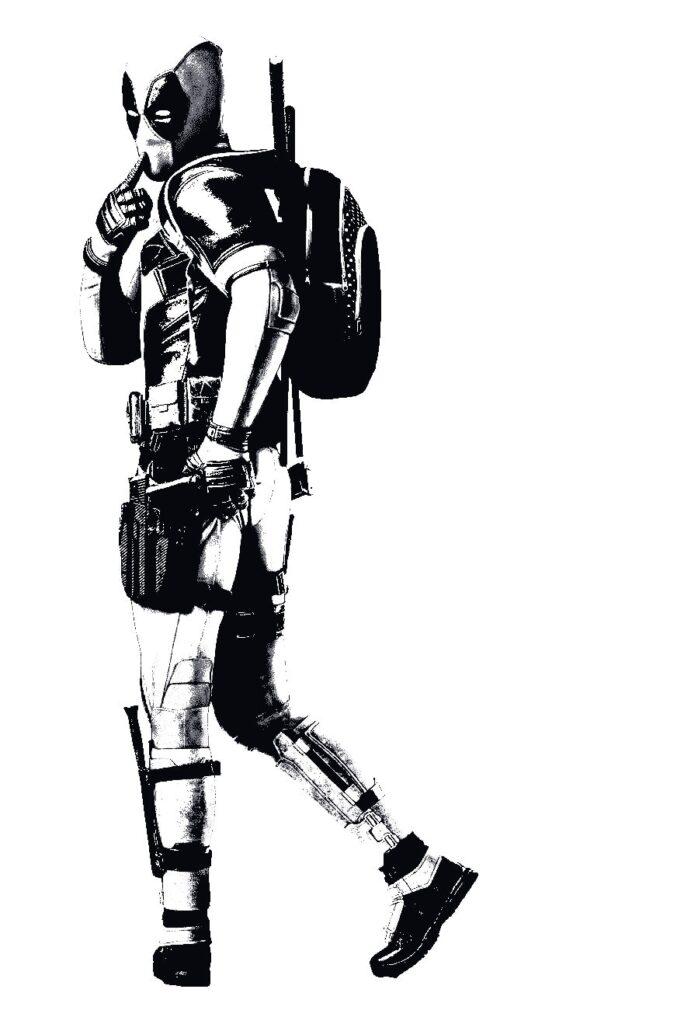 Dibujos para colorear de Deadpool 2 de espaldas - Dibujando un Poco