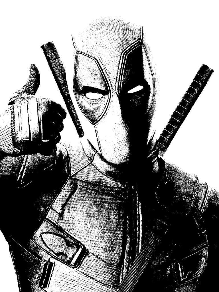 Dibujos para colorear de Deadpool 2 pulgar arriba - Dibujando un Poco