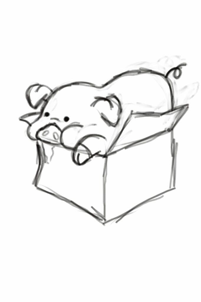 Dibujos para colorear de pato de gravity falls en una caja - Dibujando un Poco