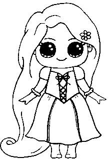 Dibujos para colorear kawaii disney de princesa Rapunzel Enredados - Dibujando un Poco