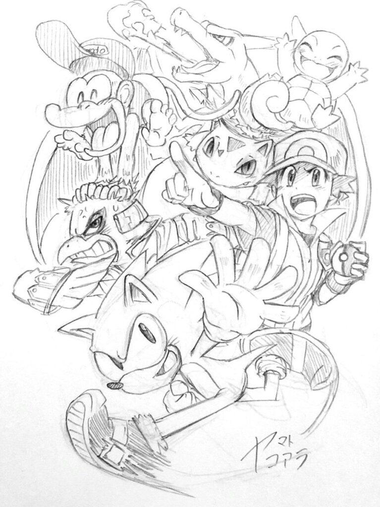 dibujo a lapiz de pokemon donkey kong y sonic por @KoaraYmt en twitter - Dibujando un Poco