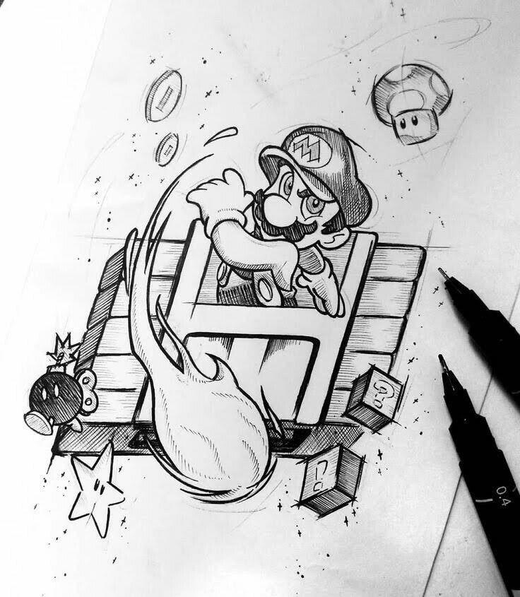 dibujo a lapiz de super mario por @maatheeuxx en Instagram - Dibujando un Poco