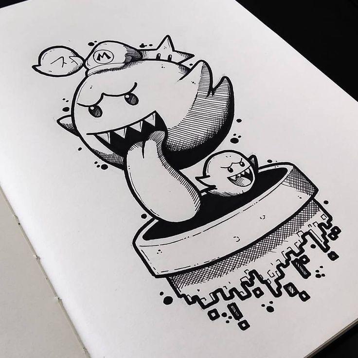 dibujos a lapiz de los fantasmas de mario - Dibujando un Poco