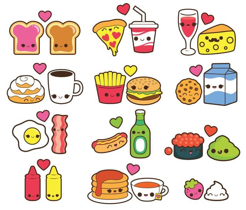 dibujos de comida con caritas kawaii - Dibujando un Poco