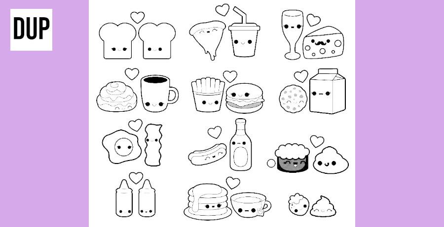 dibujos de comida kawaii para colorear - Dibujando un Poco