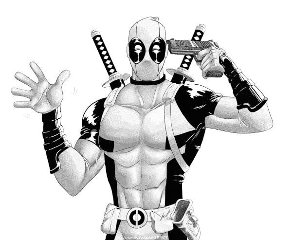 dibujos de deadpool a blanco y negro - Dibujando un Poco