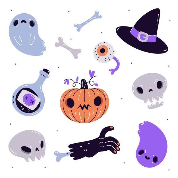 dibujos de halloween kawaii De Elementos De Halloween Dibujados A Mano - Dibujando un Poco