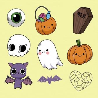 dibujos de halloween kawaii - Dibujando un Poco