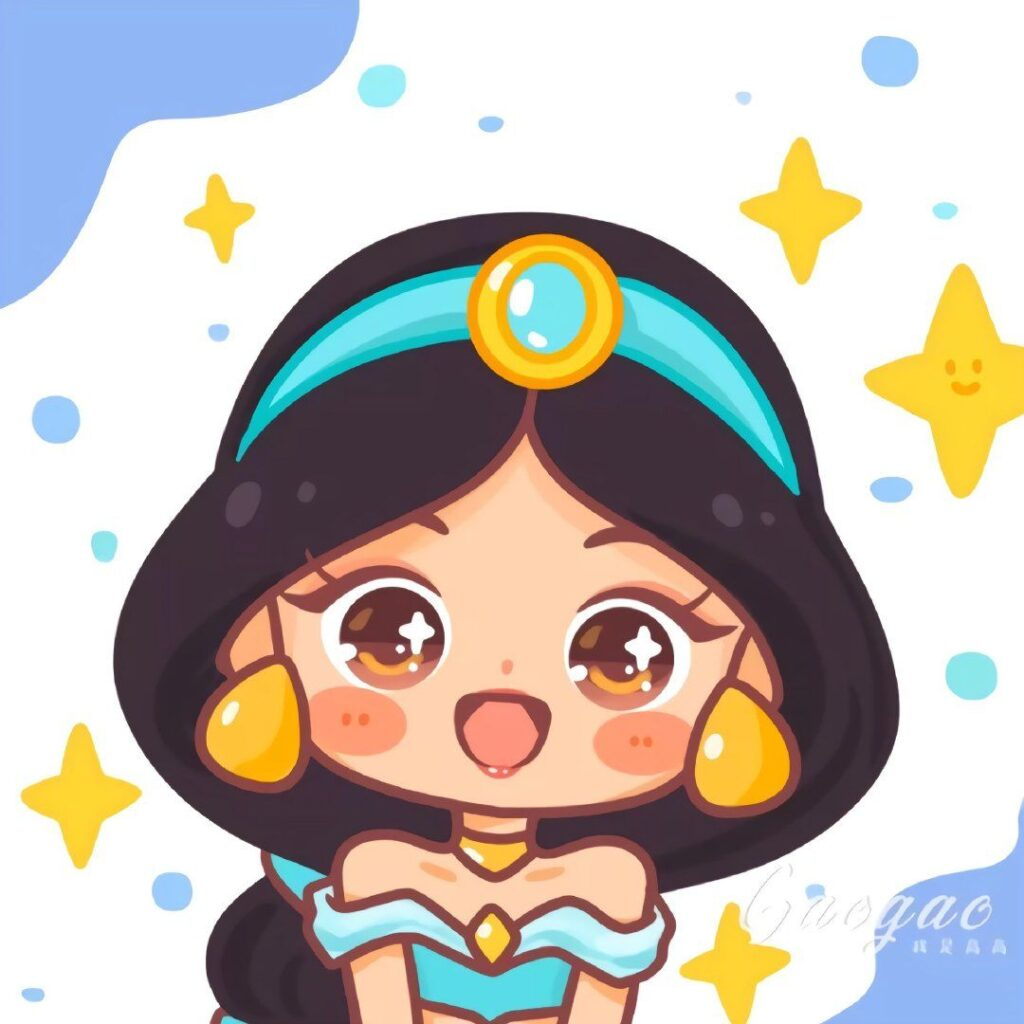 dibujos de princesas kawaii jasmin - Dibujando un Poco