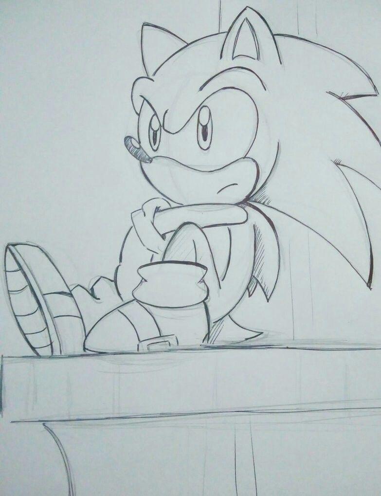 dibujos de sonic a lapiz sentado - Dibujando un Poco