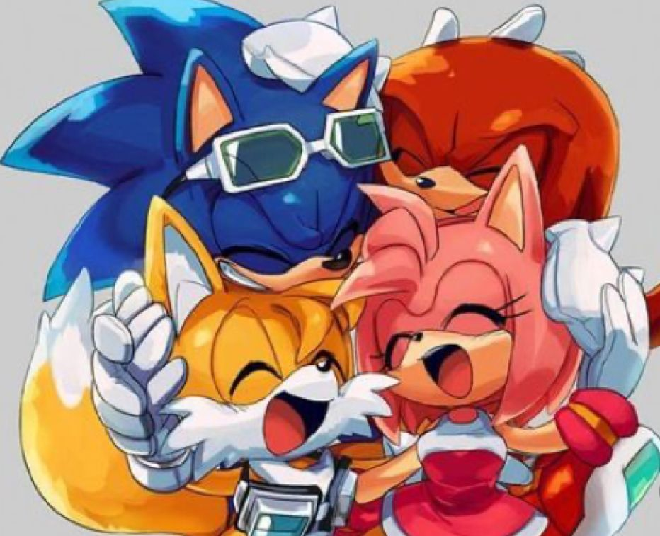 dibujos de sonic y sus amigos abrazados - Dibujando un Poco