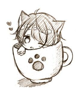 dibujos kawaii a lapiz chica en una taza - Dibujando un Poco