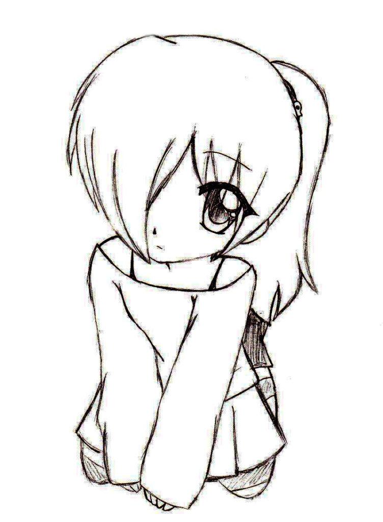 dibujos kawaii a lapiz chica timida - Dibujando un Poco