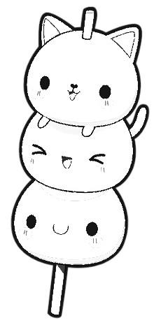 dibujos kawaii blanco y negro gatos sushi - Dibujando un Poco