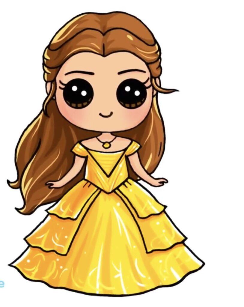 dibujos kawaii de princesas bella - Dibujando un Poco