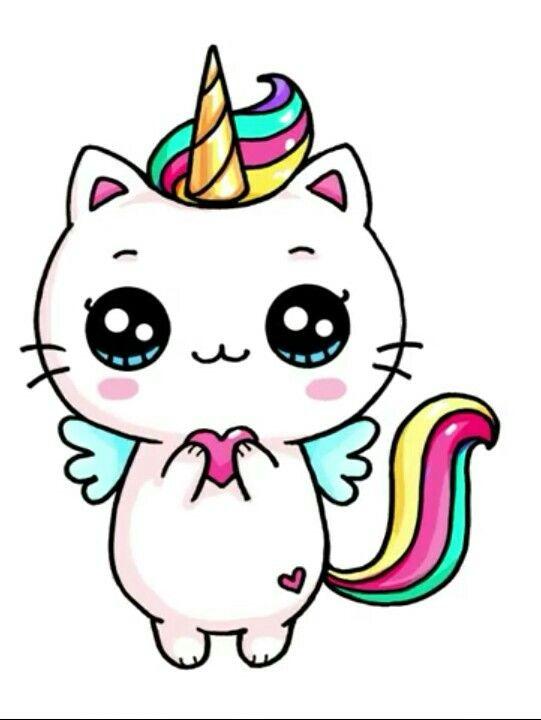 dibujos kawaii gato unicornio - Dibujando un Poco