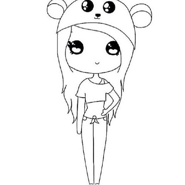 dibujos kawaii para dibujar chica panda - Dibujando un Poco