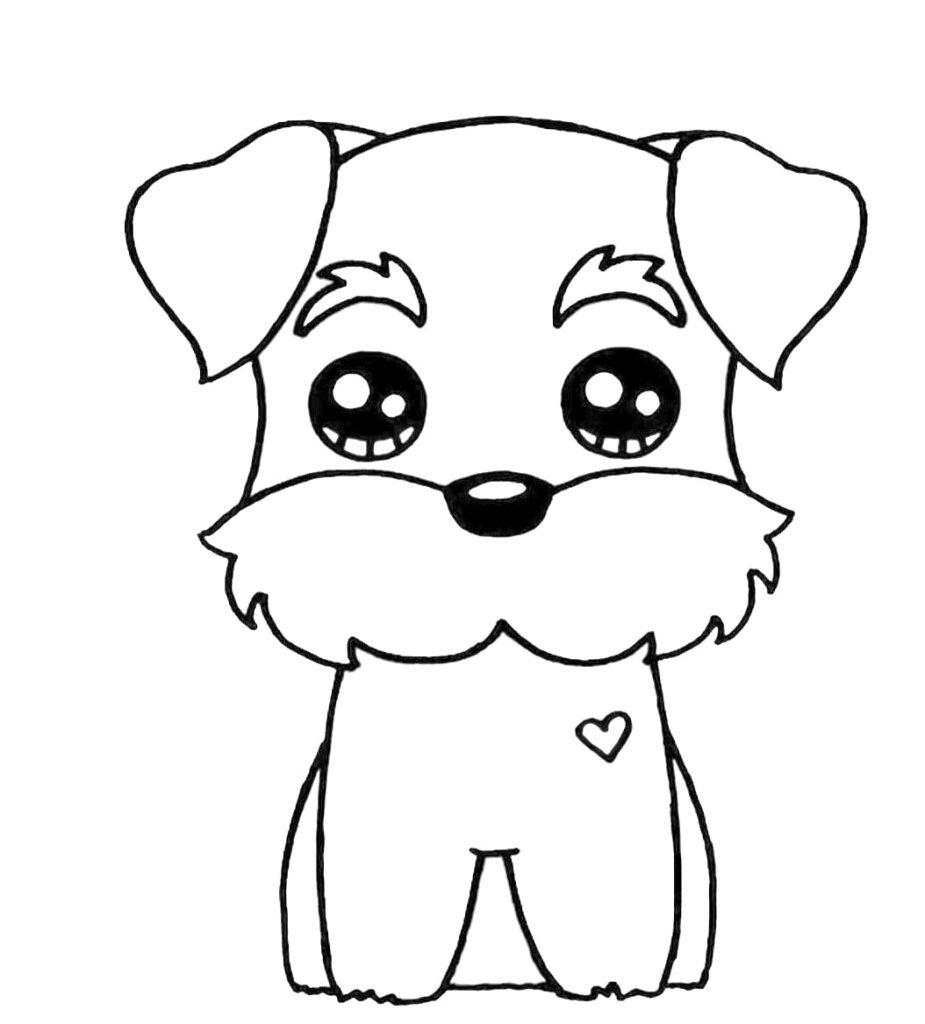 dibujos kawaii perro para colorear - Dibujando un Poco